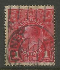 AUSTRALIA KGV KING GEORGE V One Penny Red 1d Single Watermark Used (No 65)
