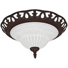 Deckenleuchte Deckenlampe 2x E27/max.60W Metall rostfarben und Glaskuppel opal