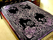 TAPESTRY CELTIC God Purple Hippie Medieval Wicca  Wall Hanging Bedspread
