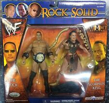 "2001 WWF/WWE JAKKS ""The ROCK/SCORPION KING"" Wrestling/ACTION Figures [MOC]"