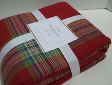 Pottery Barn Red Multi Colors Blake Plaid Cotton Full Queen Duvet Cover New