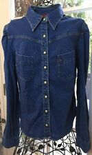LEVI'S Denim Western Shirt  Women's Size L Pearl Inlay Snaps Stretch Fitted Dark
