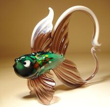 """Blown Glass """"Murano"""" Art Figurine Green, Purple & White FISH with Arched Tail"""