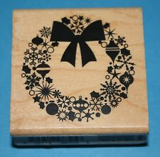 NEW Inkadinkado 'Christmas Wreath' Wooden Backed Rubber Stamp 98325LL