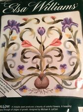 """Clearance ..Elsa Williams MAYFLOWER PILLOW Floral Crewel Embroidery Kit 12""""x12"""""""