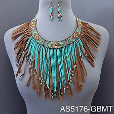 Brown Suede Turquoise Multi Color Double Layered Tassel Necklace with Earrings