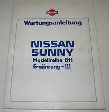Werkstatthanbuch Ergänzung Nissan Sunny B11 / B 11 Stand März 1985!