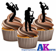 Saxophone Silhouette Players Mix 12 Edible Stand Up Cup Cake Toppers Blues Jazz