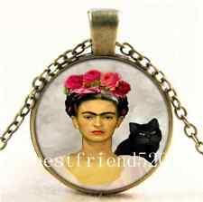 Vintage Frida Kahlo and Black Cat Cabochon Glass Bronze Pendant Necklace