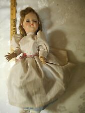 """Vintage 1940's Hard Plastic Doll 17"""", Eyes open and close, strung arms"""