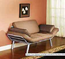 Futon Sleeper Loveseat Twin Sofa Dorm Furniture Brown  Couch Bed Chair Room