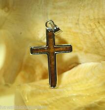 16mm Sterling Silver Genuine Hawaiian Inlaid Acacia Koa Wood Latin Cross Pendant