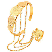 African Dubai Gold Plated Jewelry Slave Bracelet with Ring for Women