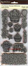 Rubber Cling Stamps BIRTHDAY PARTY Cupcake Gift Candle Balloon BackgroundBorder