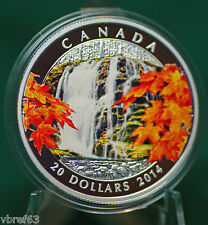 2014 Canada $20 Autumn Falls coloured coin 99.99% silver - in stock