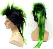 Mens Black Green Mohawk Wig Long Straight Punk Rock Synthetic Costume