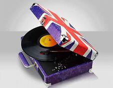 Rétro union jack portable mallette vinyle platine record player twin haut-parleurs