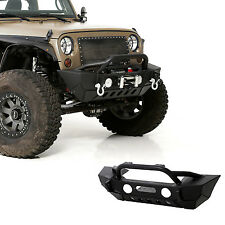 07-16 Jeep Wrangler JK Rock Crawler Stubby Front Bumper+Fog Light Hole+Black 4x4