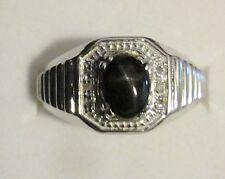 Men's Black Star Diopside & Diamond Ring in Sterling Silver, sz 10