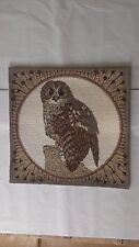 Beautiful Complete Needlepoint Owl Feather Border Valerie Green Cushion Tapestry