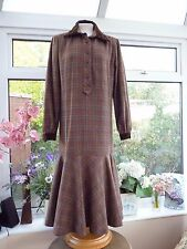 "Vintage ""BELLVILLE SASSOON"" brown check drop waist robe velours col sz 12"