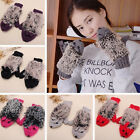 Cute Women's Warm Winter Plush Gloves Women Fur Mittens Fleece Cartoon Hedgehog
