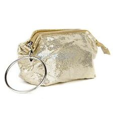 Gold Sequins Wallet Clutch Handbag Travel Toiletry Kit Cosmetic Makeup Case Bag