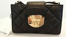 Calvin Klein Mini Quilted Black Leather Clutch Shoulder Handbag NWT Retail  $118