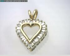 14K Yellow Gold VS2-SI1 G-H Color 0.60Carat Baguette Diamond Heart Pendant B3985