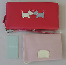 "Radley Large Bright Pink Leather Wristlet Purse - ""Hello"" - RRP £79 - NEW"