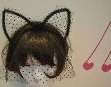 Sexy Black Cat Ears Polka Dot Lace Veil Christmas New Year Eve costume party