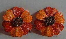 VINTAGE ORANGE ENAMEL FLOWER EARRINGS 2-TONE LEVERBACKS
