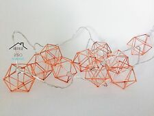 Modern Copper Rose Gold Geometric Cage String Fairy Bedroom Garland Lights LED