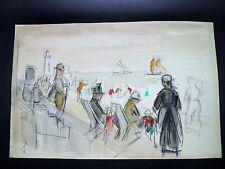 Fernand FERNEL Dessin Original SIGNÉ Scènè MARINE PLAGE animée PHARE Années 1920