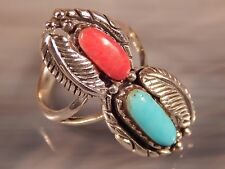 Navajo Sterling Silver Turquoise Coral Ring.925 (Sz-7)