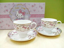 Sanrio Hello Kitty Bone China English High Tea Set 2 Cups + 2 Plates Saucer NEW