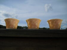 Set Of 3 Fire King 6 Oz Peach Luster Custard Cups Scalloped Edges