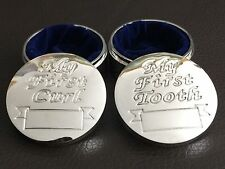 """""""My First Curl"""" & """"My First Tooth"""" Silver Plated & Velvet Lined Gift Boxes"""