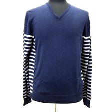 R-378989 New Paul Smith Solid Stripe V-Neck Sweater US M