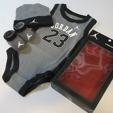 Baby Babies Infants New Boys JUMPMAN JORDAN 23 3 Piece Babysuit Bodysuit set
