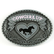 Senmi Vintage Rage Cowgirl Rodeo Western Horse Oval Classic Belt Buckle Silver C