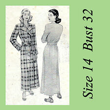 Vintage 1940s Night Robe Dressing Gown House Coat McCalls 6302 Sewing Pattern