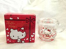 Sanrio Hello Kitty (Heart) Glass Tumbler Cup Mug w/ Lid ~NIB