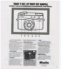 PUBLICITE ADVERTISING 114 1978 MINOLTA HI-MATIC S un 24 x 36 automatique