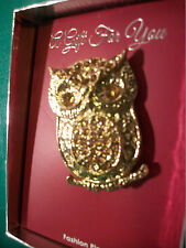 GREAT GIFT NEW DECORATIVE AMBER GLASS & GOLD TONE OWL PIN BROOCH