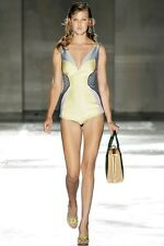 PRADA S/S 2012 RUNWAY Navy Beige Cotton Bodysuit Romper Dress IT40/US6 NWT