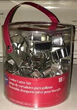 Wilton HOLIDAY METAL COOKIE CUTTER TUB SET of 18 Christmas Pastry Cutters