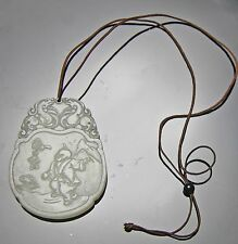 ANTIQUE CHINESE CARVED JADE PENDANT WITH FIGURE AND WRITING