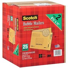 "3M Scotch Bubble Mailers size 2 (8.5"" x 11"") - 25 Pack Envelope Mailer Free Ship"