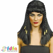 BLACK CLEOPATRA EGYPTIAN BRAIDED WIG WITH GOLD TRIM - ladies fancy dress costume
